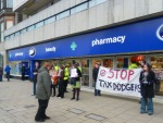 Protesting outside Boots